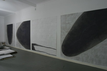 'One Dances', 2003. Installation in artist studio, acrylic on paper, 200 x 200cm each. Photo: Carl Warner.