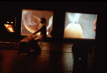'Sonorous Bodies', 2001. Installation with koto player Satsuki Odamura  at the Hebbel Theatre, Berlin.