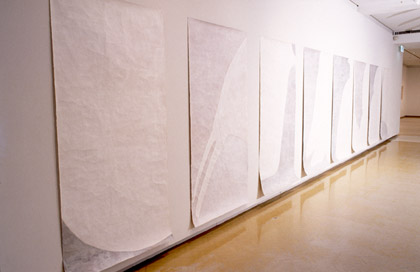 'Journeying: Flight', (detail) 2002. Synthetic polymer paint on paper, each 200x100cm. Photo: Greg Weight