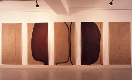 'Memory Trace', 1996. Acrylic and wax on japanese paper, each 100x200cm. Installed at Gallery 88, Calcutta, India.