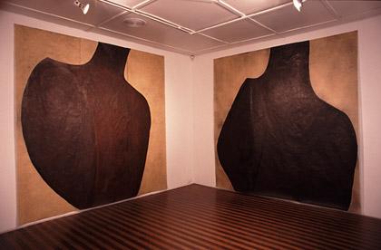 'Breathe', 1997. Acrylic and wax on japanese paper, each 300x300cm. Milburn Gallery, Brisbane.