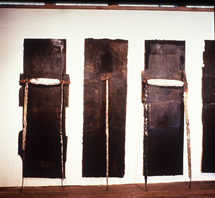 'Gods bones for Nicole', (detail) 1991. Mixed media on paper,  cement on steel, variable dimensions