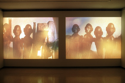 'Journeying: Inferno', 2002. Dual screen DVD projection still.  Commissioned: Elision Music: John Rodgers Photo: Greg Weight