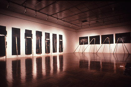 'Gods bones for Nicole', 1991. Installation Adelaide Biennale, mixed media on paper,  cement on steel, variable dimensions.