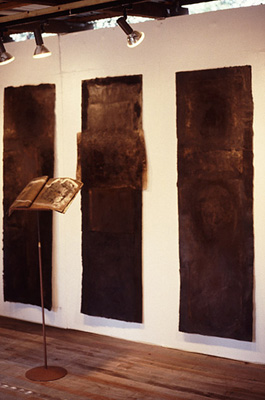 'Untitled', (wall) 1989. Acrylic and pigment on arches paper, each 210x65cm. Australian Perspecta exhibition, Art Gallery of New South Wales