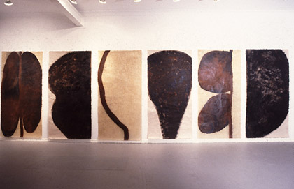 'Body Trace', 1995. Acrylic and wax on paper, each 100x200cm. Installed at Annadale Gallery.