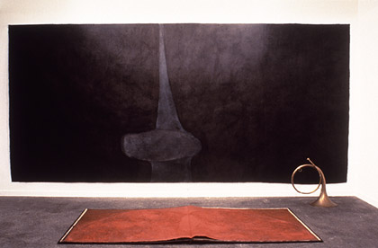 Silence echo's in the hollow of the hand, (wall) 1993. Acrylic pigment wax on japanese paper, 400x200cm. Shadow of Silence, (floor) 1993. Acrylic pigment wax on japanese paper, metal, 16 pages each 100x200cm. Installed at Gallery Lunami, Tokyo.