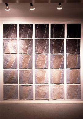 'Trace', 1998. Acrylic and wax on japanese paper, each 50x50cm. Kawaguchi Museum of Contempory Art, Saima.