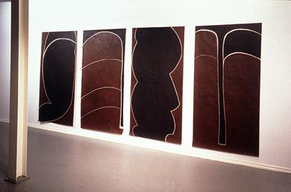 'Erase', 1998. Installation view, acrylic on japanese paper, each 200x100cm. Photo: Richard Stringer
