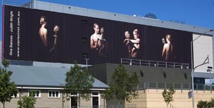 'One Dances' installation on QUT Billboard. Photographer: Carl Warner.