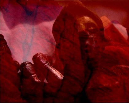 'Journeying: Inferno', 2002. Dual screen DVD projection still.  Commissioned: Elision Music: John Rodgers