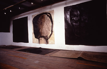 'Untitled', 1992.Installation in studio. Acrylic, pigment and wax on japanese paper. Wall, each 200x200cm. Floor, each 100x200cm.