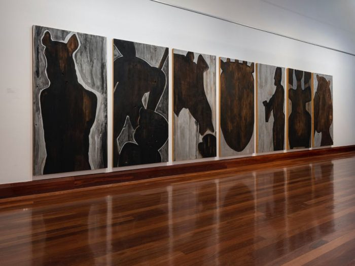 Installation of 'Through a glass darkly' 2013 acrylic on wooden panels H  200cm  W 100cm  D 4cm (each) Photo: Carl Warner Collection: USC Art Gallery